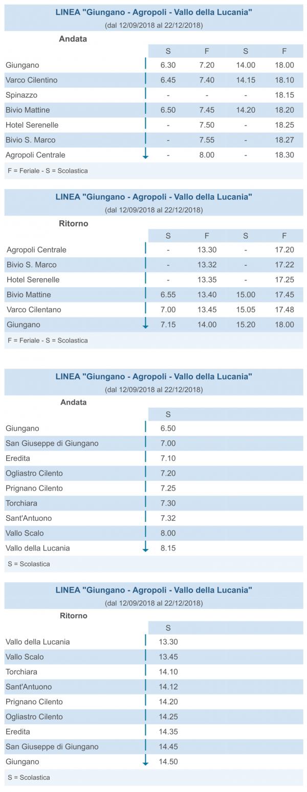 Autolinee Bus - Giungano - Agropoli - Vallo della Lucania andata e ritorno